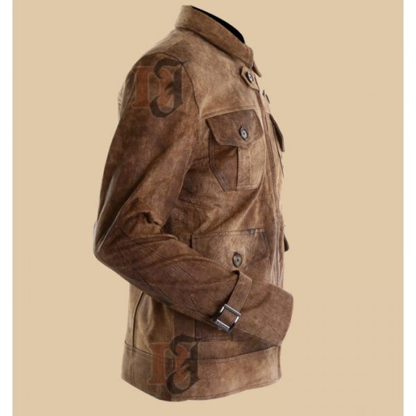 919a9bdc2 The Expendables 2 Jason Statham Dark Brown Distressed Leather Jacket