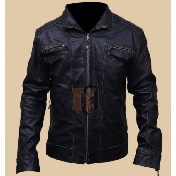 ff82c5661 Black Rivet Men's Motorcycle Leather Jacket Black Leather Jackets