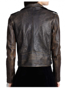 Women's Distressed Brown Leather Jacket